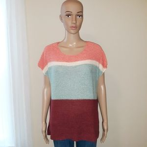Ann Taylor Loft Colorblock Cap Sleeves Sweater
